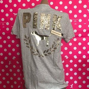 VS PINK Bling Tee / Gray / Size M